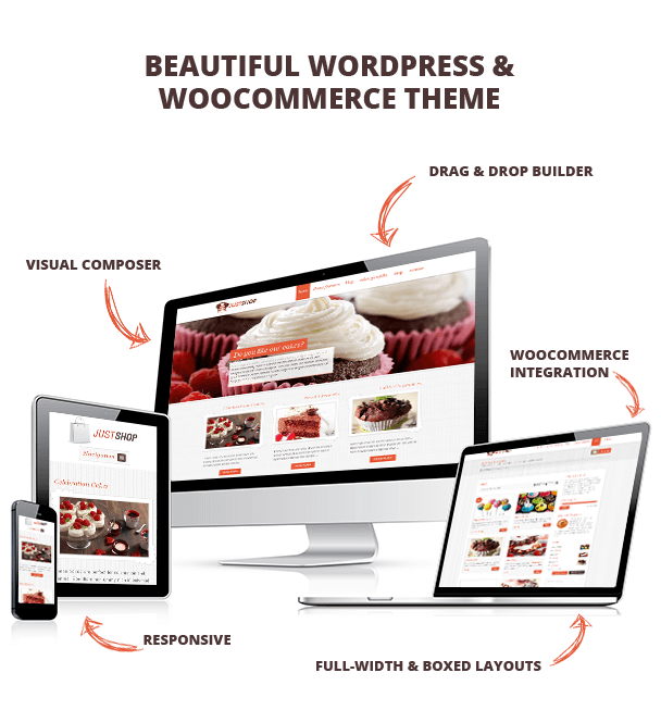 Justshop cakes pastries theme features